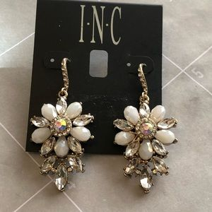 New INC gold and crystal drop earrings